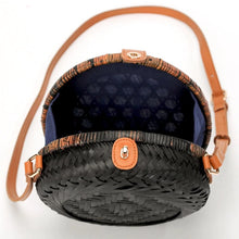 round black rattan bag travel style edgability open view