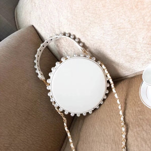 pearl studded white bag box round bag edgability full view