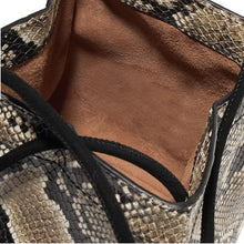 snakeskin brown grey bucket bag edgability detail view
