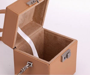 luxe classy brown bag box bag edgability detail view