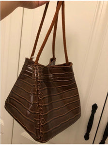 croc skin brown bucket bag edgy fashion edgability full view