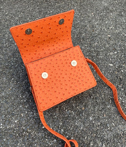 ostrich leather orange bag edgy fashion edgability open view
