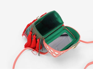 quirky box bag with red tassels edgability open view