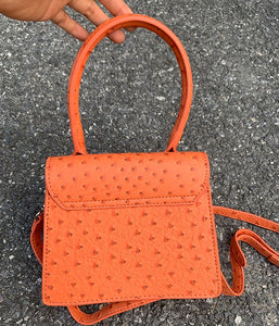 ostrich leather orange bag edgy fashion edgability back view