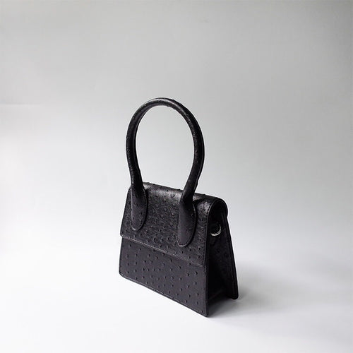black bag ostrich leather classy bag edgability