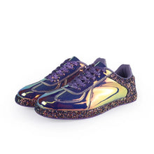 chrome metallic sneakers purple glitter trainers edgability