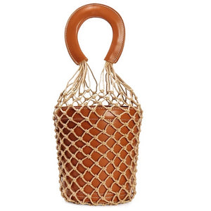 bucket bag basket drawstring bag brown bag edgability front view