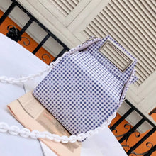 box bag checkered bag sling bag blue bag edgability front view