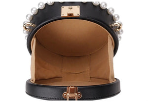 pearl studded black bag box round bag edgability open view