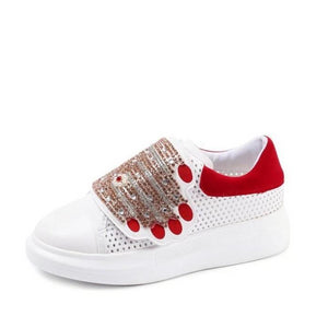 red white sneakers with hands edgability