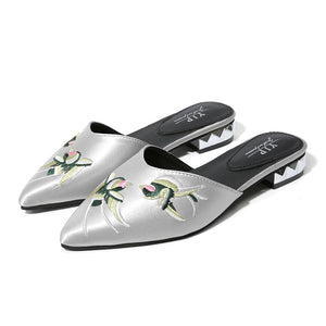 embroidered flats silver shoes edgability angle view