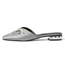embroidered flats silver shoes edgability side view