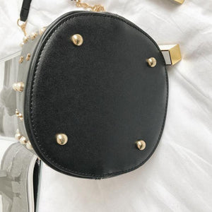 studded bag bucket bag black bag edgability bottom view