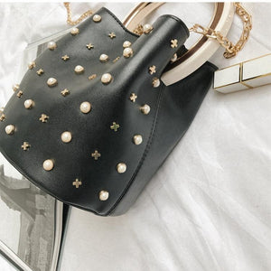 studded bag bucket bag black bag edgability detail view