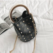 studded bag bucket bag black bag edgability front view