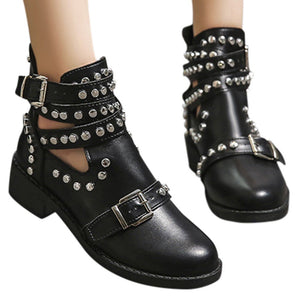 studded black ankle boots with buckles edgability model view