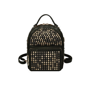 gunmetal gold studded black backpack bag pack edgability