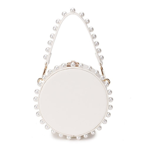 pearl studded white bag box round bag edgability
