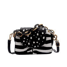 leopard zebra print boho black and white bag edgability front view