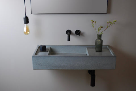 Dami A3 concrete wash basin in Pewter.