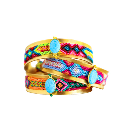 Friendship Cuff in Turquoise Silk Multi