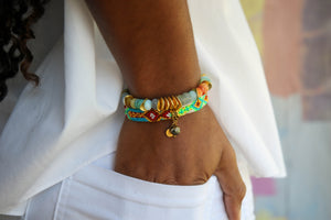 Friendship Bangles in Turq Multi