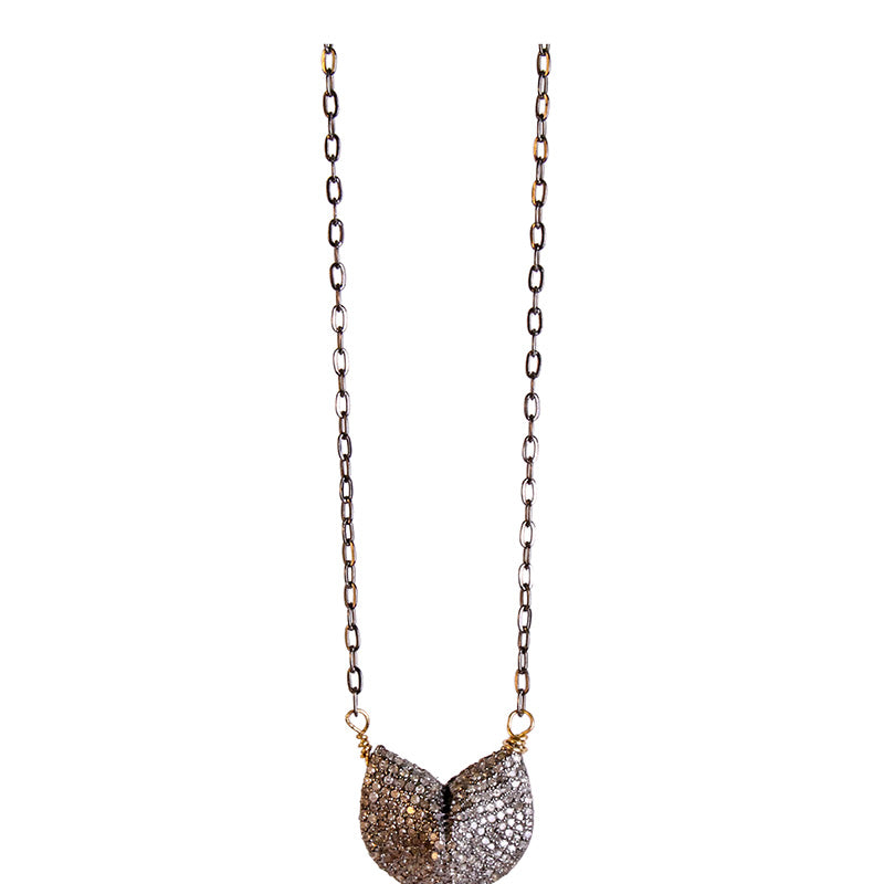Pave diamond fortune cookie necklace