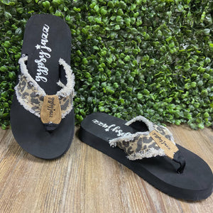 Frayed Leopard Sandals