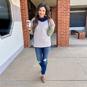 Green And Navy Long Sleeve Cowl Neck Top