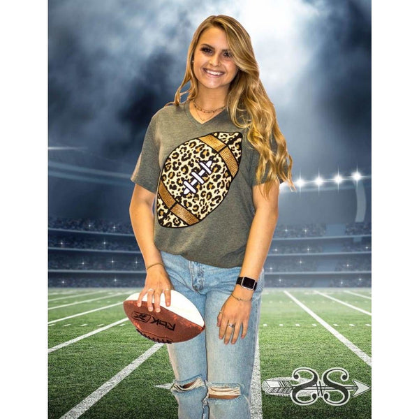 Leopard Football Black Tee
