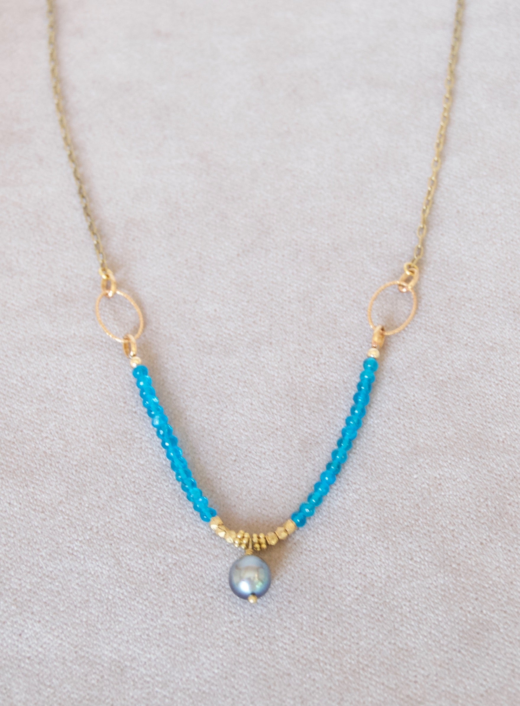 gold product bead blue chain necklace accessories a joy