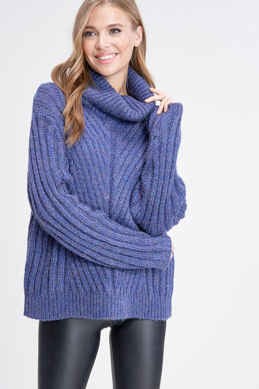 Bright Blue heavy cable knit sweater - M C and J
