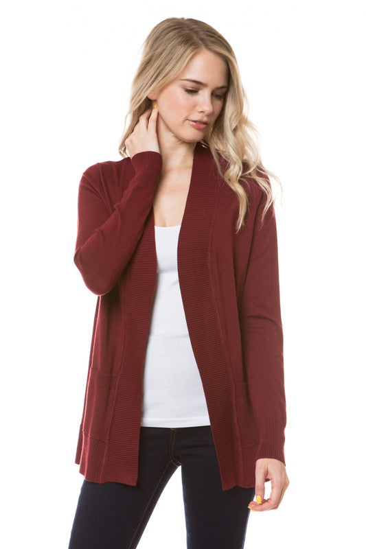 Burgundy open Cardigan with pockets - hip length