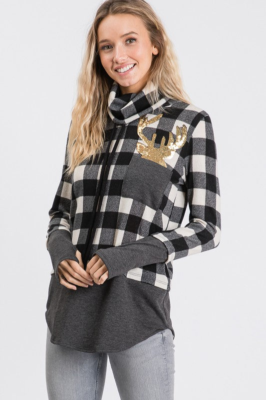 Christmas Cowl Neck Buffalo Plaid with Reindeer- Black / White - M C and J