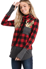 Load image into Gallery viewer, Christmas Cowl Neck Buffalo Plaid with shiny Reindeer - Red / Black - M C and J