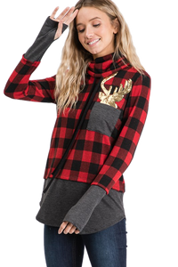 Christmas Cowl Neck Buffalo Plaid with shiny Reindeer - Red / Black - M C and J