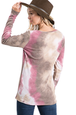 Load image into Gallery viewer, Tie Dye 4 button thermal pullover  - Rose / Brown