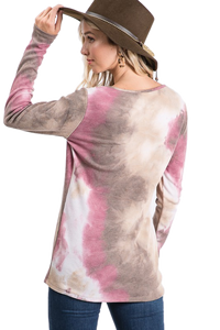 Tie Dye 4 button thermal pullover  - Rose / Brown