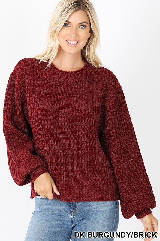 Balloon Sleeve Sweater - Burgundy - M C and J
