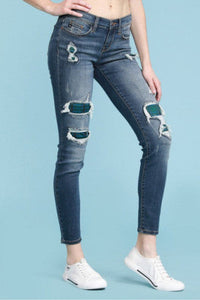 Curvy Judy Blue Patched Destructed Jean  - 82140