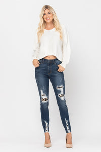 Judy Blue High Waist Leopard Patch Skinny Jeans - 82166
