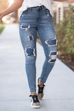 Load image into Gallery viewer, Judy Blue Pin Stripe patch high rise skinny jean - 88181