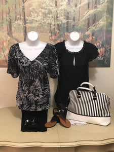 Black and White print v neck - M C and J