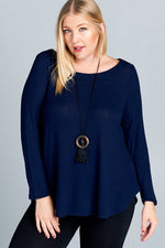 Load image into Gallery viewer, Curvy Navy Lightweight Sweater Top - M C and J