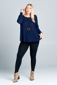 Curvy Navy Lightweight Sweater Top - M C and J