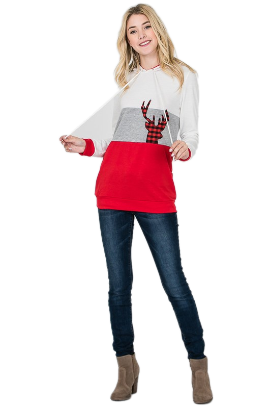 Christmas Hoodie Color Block Sweatshirt with Reindeer- Red / Grey / White - M C and J