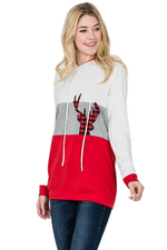 Load image into Gallery viewer, Christmas Hoodie Color Block Sweatshirt with Reindeer- Red / Grey / White - M C and J