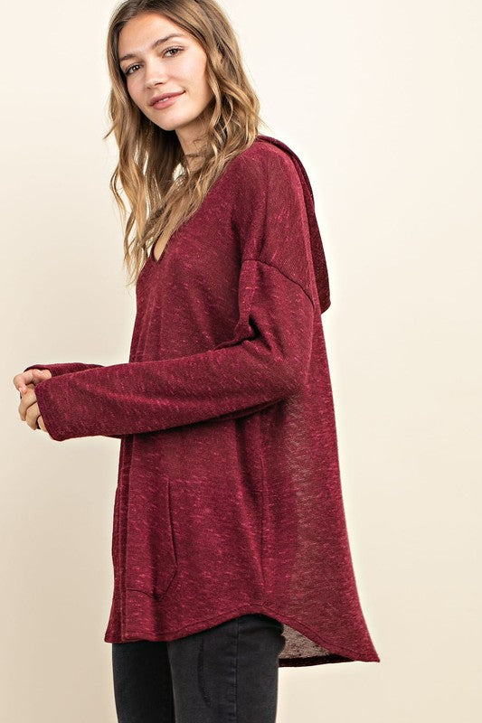 Sweater Hoodie  - Burgundy - M C and J