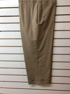 Curvy Khaki Capri with grommet hem - M C and J