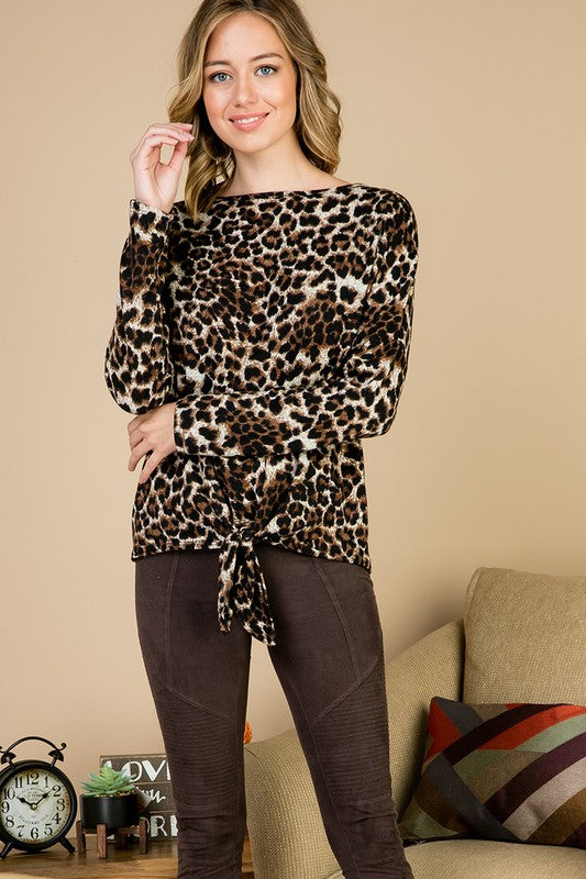 Animal Print Tie Front Detail Top - M C and J